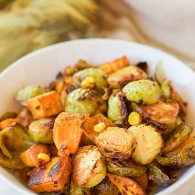 Roasted Sweet Potato Brussel Sprout Hash