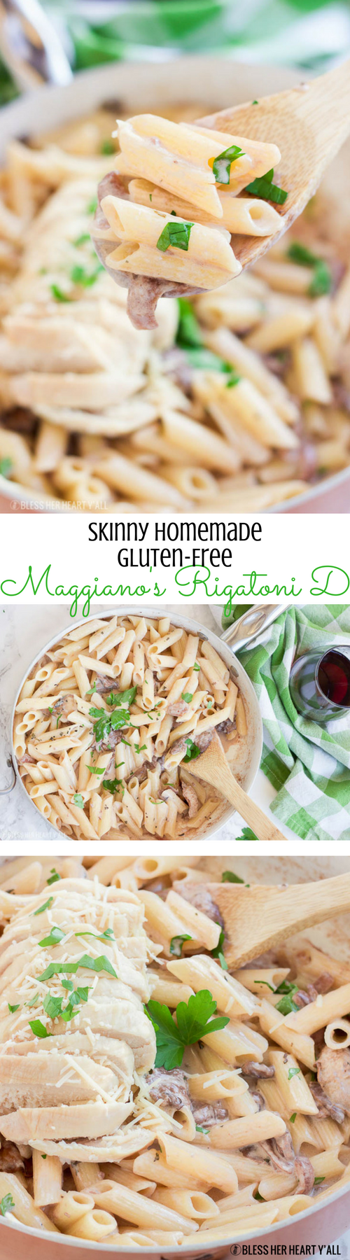 This skinny homemade Maggiano's Gluten-Free Rigatoni D recipe is a creamy healthy version of Maggiano's Little Italy's famous dish. A creamy coconut milk sauce infused with red wine, garlic, and mushrooms is drizzled over al dente noodles and sliced chicken breasts.