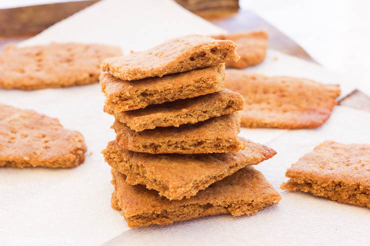Paleo Gluten-Free Graham Crackers || These paleo gluten-free graham crackers are an easy 15 minute recipe that uses simple ingredients to make moist on the inside and toasted on the outside squares just in time for s'more season! www.BlessHerHeartYall.com