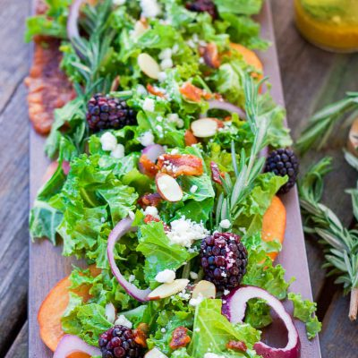 Fall Peach Salad + Rosemary Maple Vinaigrette