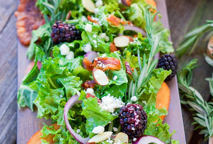 Fall Peach Salad + Rosemary Maple Vinaigrette