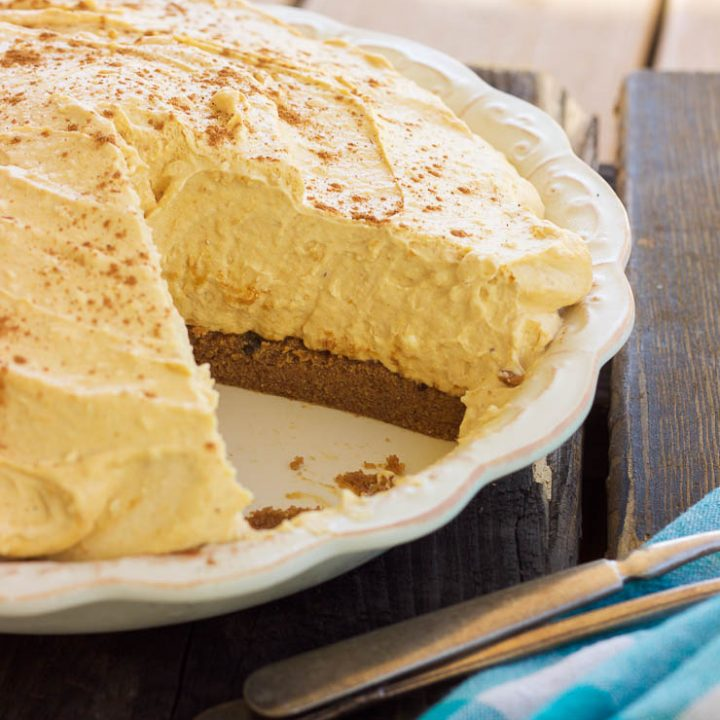 This gluten-free pumpkin cheesecake is a no-bake peanut butter cookie pumpkin cheesecake is made out of a peanut butter cookie crust and filled with a dreamy and creamy pumpkin cheesecake that will satisfy anyone's sweet tooth this holiday season!