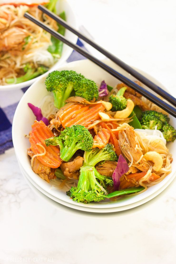 This turkey teriyaki stir-fry is the perfect way to eat up those Thanksgiving turkey leftovers! A healthy dose of stir-fry veggies are mixed in with a simple warm teriyaki glaze and then spooned over al dente rice noodles for a quick and tasty meal!