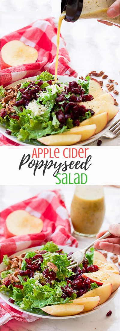 This apple cider poppyseed salad throws the season's best combination of juicy apples, crunchy pecans, sweet cranberries, and savory blue cheese crumbles over a bed of chopped kale and drizzles on a 2-minute apple cider poppyseed vinaigrette.  It's big on nutrients and fall flavors and is gluten-free and paleo-friendly! www.blessherheartyall.com
