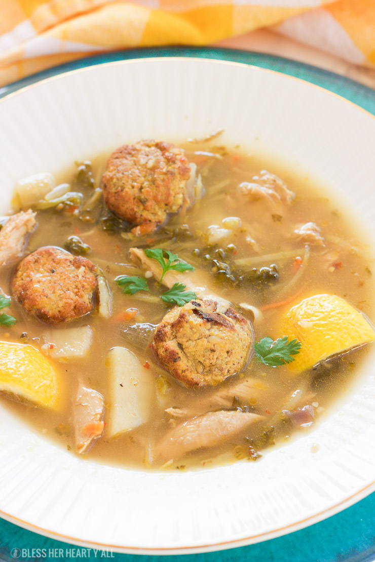 This healthy leftover turkey lemon garlic soup will warm you up with it's hearty savory broth and it's immune-boosting lemon and garlic. It's the perfect excuse to use up those Thanksgiving turkey leftovers and fight off those cool-weather colds! It is also gluten-free, paleo, and dairy-free!