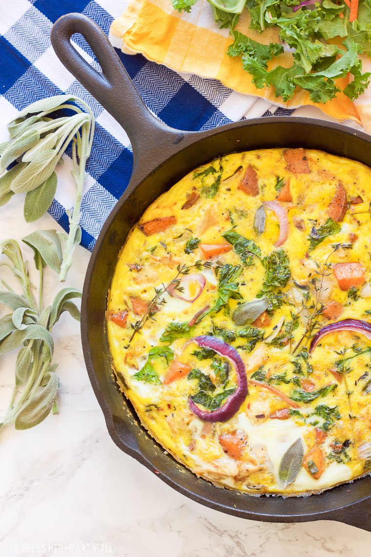 This paleo leftover turkey sweet potato frittata will have everyone waking up extra early for! Rise and shine with this savory and creamy paleo, gluten free, grain free, and dairy free breakfast that everyone will love!