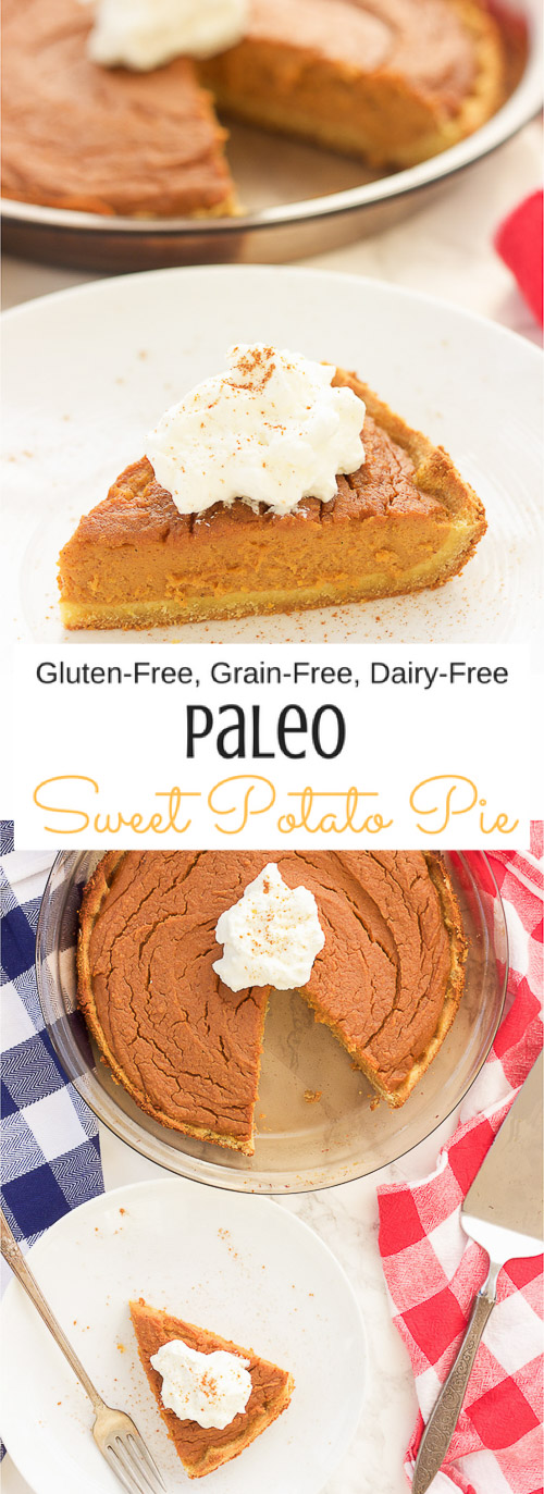 This paleo sweet potato pie is made with simple healthy ingredients and is both decadent and smooth.  This southern treat is also gluten free, grain free, and dairy free!  Bring on the holidays with this easy recipe y'all!