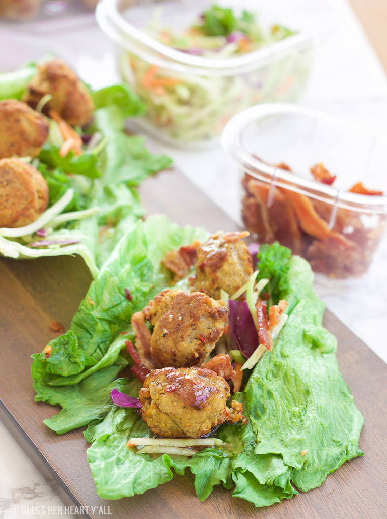 Pumpkin Sage Meatball Lettuce Wraps + Hot Bacon Vinaigrette