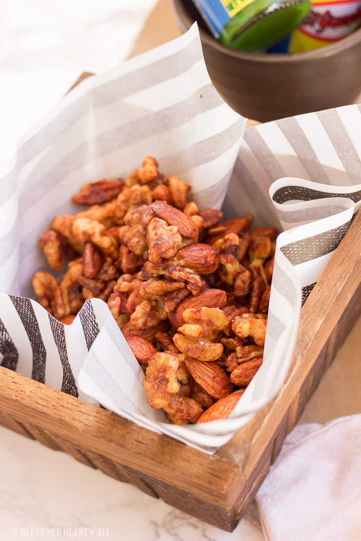 This sweet habanero roasted nuts recipe combines sweet coconut sugar with garlic and habanero sauce before perfectly roasting your favorite nuts. The sweet and spicy finger food snack is perfect for tailgating and holiday parties.