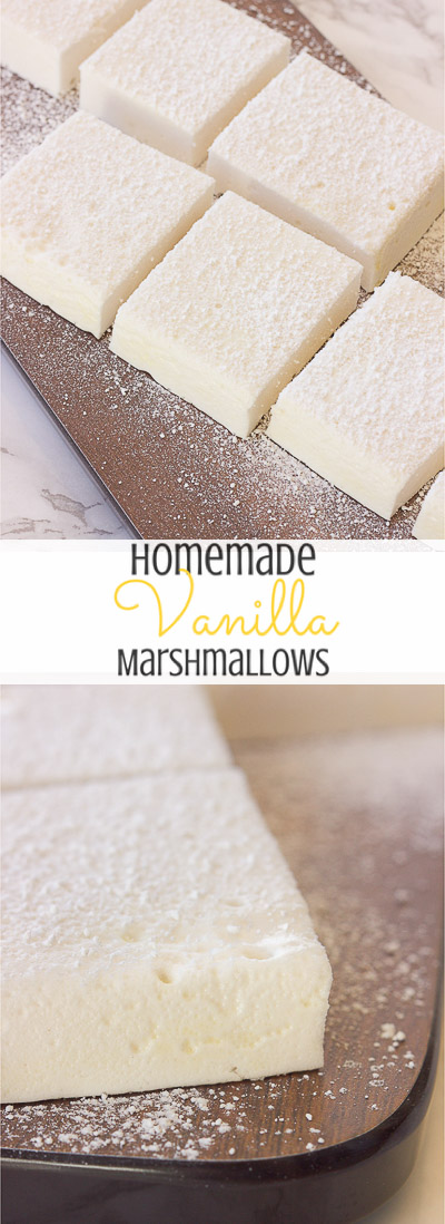 These gluten-free vanilla marshmallows are easy and simple to make and are sweet and fluffy.  This classic homemade treat is great inside of a s'more or fantastic all on it's own!