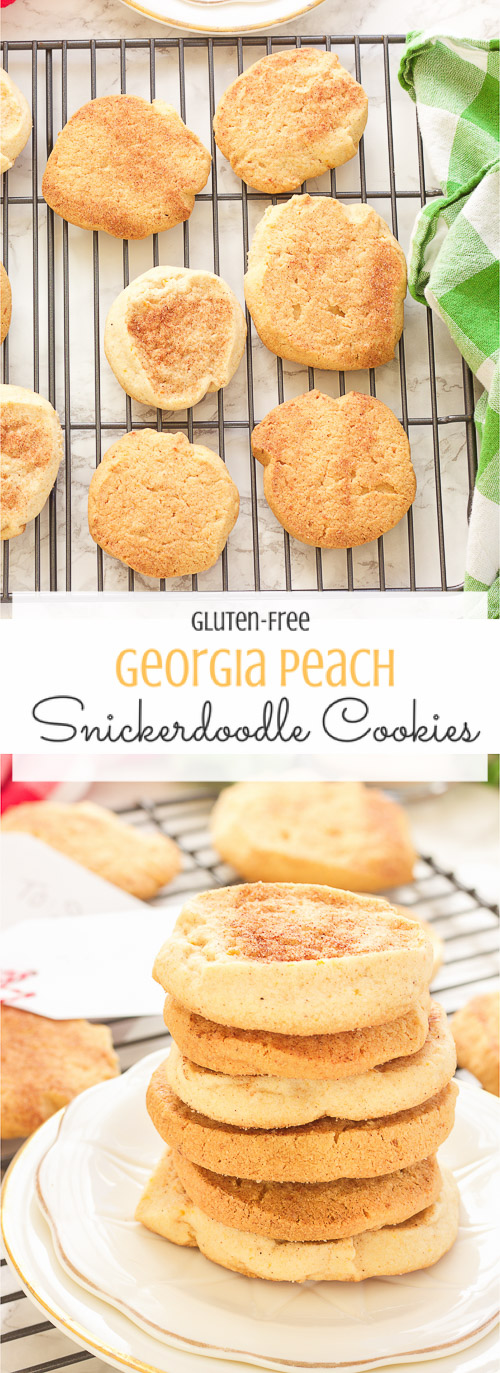 These Georgia peach sweet potato snickerdoodle cookies are gluten-free and so simple! Sweet potato is hidden inside as a healthier alternative, and peach preserves serve up warm bites of chewy peach in every bite. Crunchy on the outside, perfect on the inside.