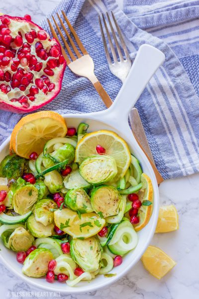 Lemon Garlic Roasted Brussel Sprouts + Zucchini + Pomegranate