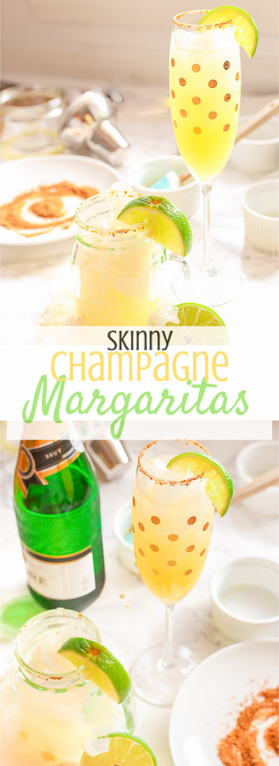 These skinny champagne margaritas are epicly delicious and prepared two different ways.  There is no need for sugar or simple syrup for this recipe that uses a combination of fresh lime and orange juices as well as honey to sweeten and packs a punch with it's tequila and champagne, perfect for any New Year's Eve fiesta!