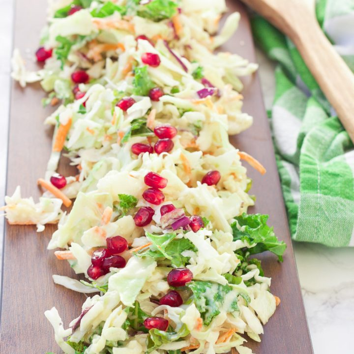 healthy pomegranate winter coleslaw