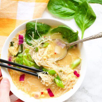Egg Drop Noodle Soup + Kimchi Sauce {GF, DF}