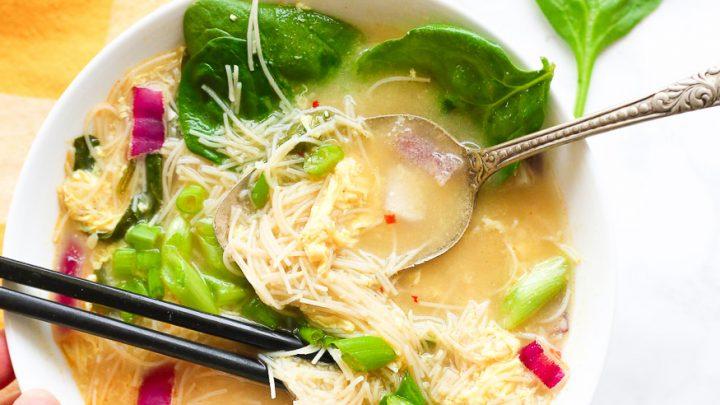 Egg Drop Noodle Soup Kimchi Sauce Gf Df