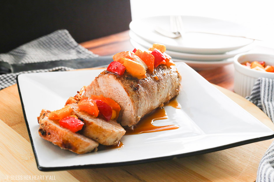 Garlic Honey Pork Loin + Sweet Bell Pepper Salsa