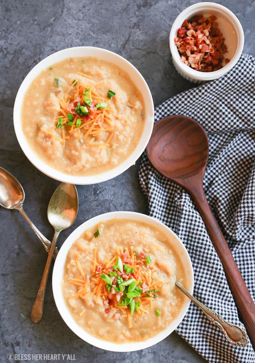 Slow Cooker Skinny Loaded Baked Potato Soup (Gluten Free)
