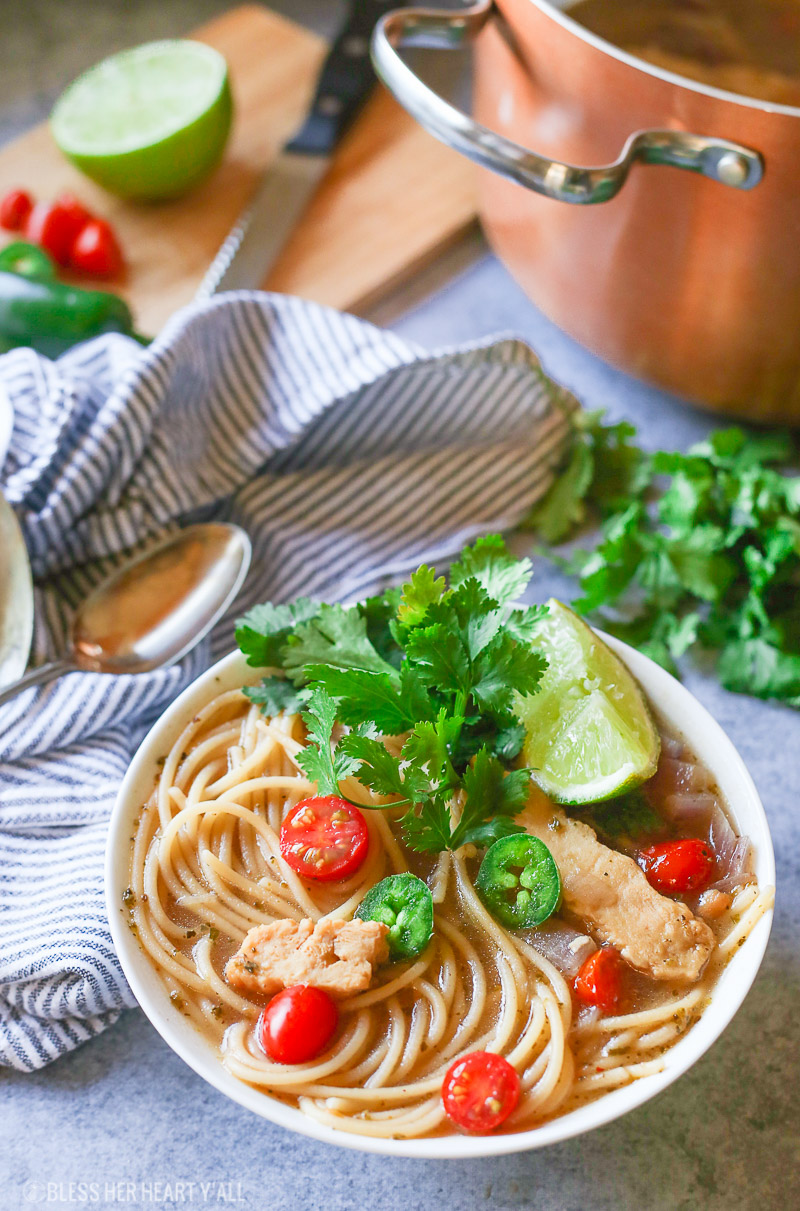 Healthy One Pot Mexican Chicken Noodle Soup – Gluten Free