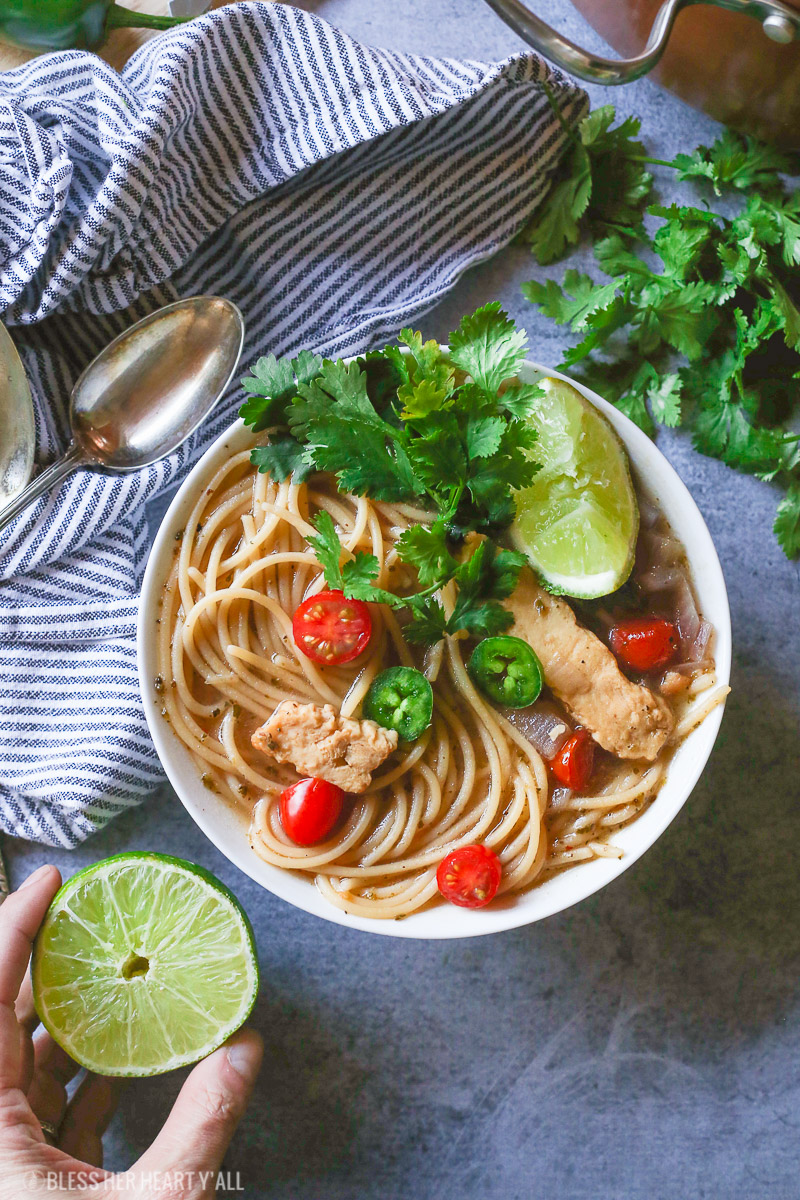 This healthy one pot mexican chicken noodle soup combines the comfort of homemade chicken noodle soup with your favorite mexican flavors to bring out a fiesta in every spoonful. It's a quick gluten-free, noodle-y, addictive meal!