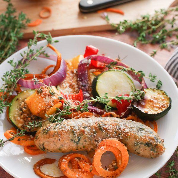 Sheet Pan Balsamic Parmesan Chicken Sausage