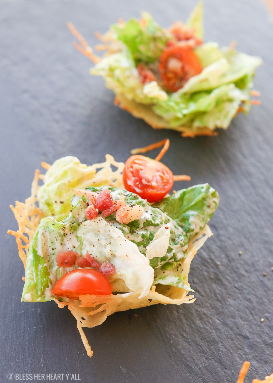 Healthy Caesar Salad Parmesan Cups | Gluten Free + Low Carb