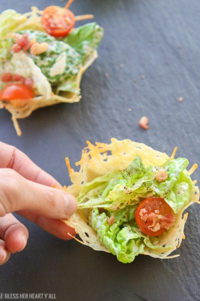 Healthy Caesar Salad Parmesan Cups   Gluten Free + Low Carb
