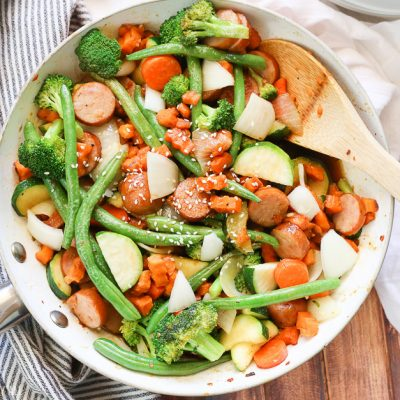 Sweet Potato Stir Fry + Chicken Sausage (Gluten-Free, Paleo, Low Carb)