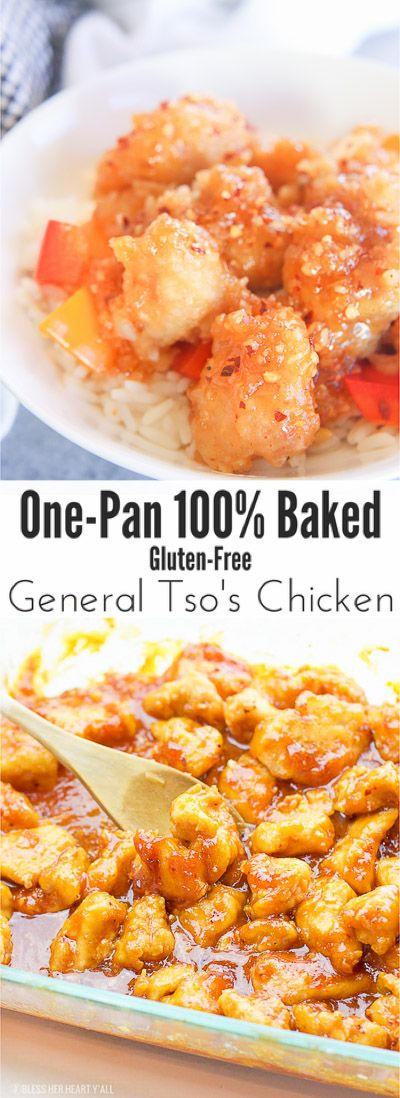one-pan baked gluten-free General Tso's chicken recipe baking in oven