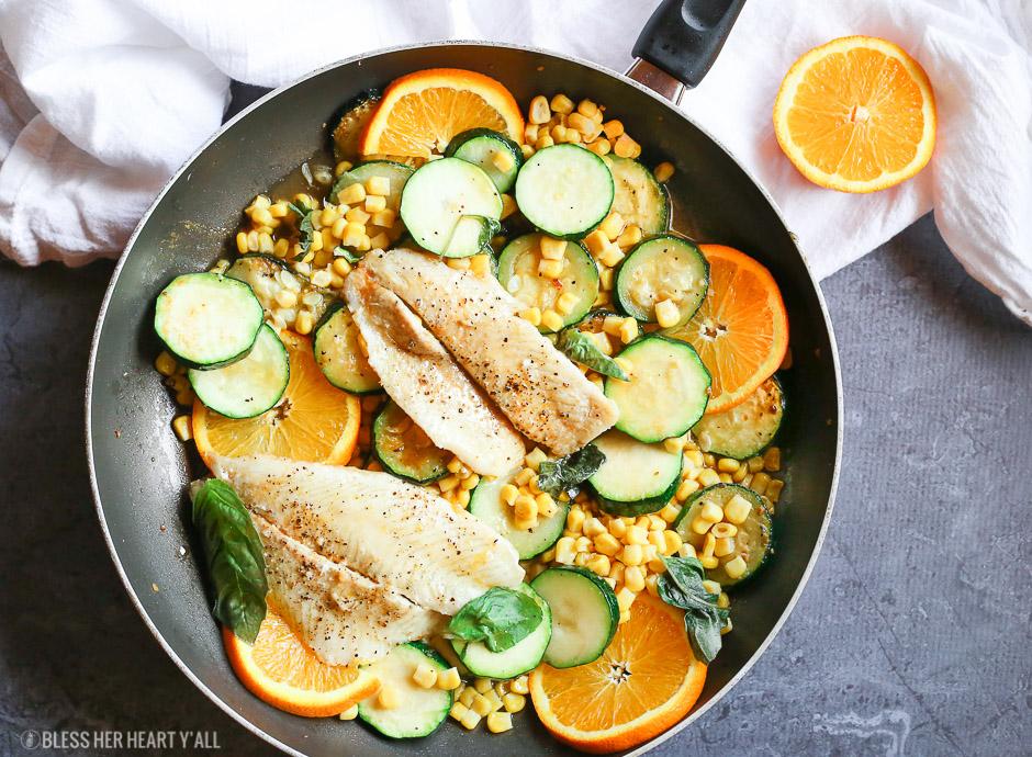 Orange Basil Butter Sauce Over Fish