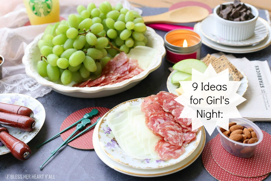 These are the 9 must have ideas and snacks for girl's night in and other easy hosting ideas to keep your party girly and tasty so you can enjoy all the fun too!
