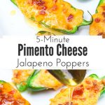 Pimento cheese jalapeno poppers melt fresh jalapenos and pimento cheese together and then top them with crisp bacon crumbles and a drizzle of fresh honey. Each bite combines sweet and spicy with warm melty cheese and crunch. The perfect snack or appetizer in just 5 minutes! 5
