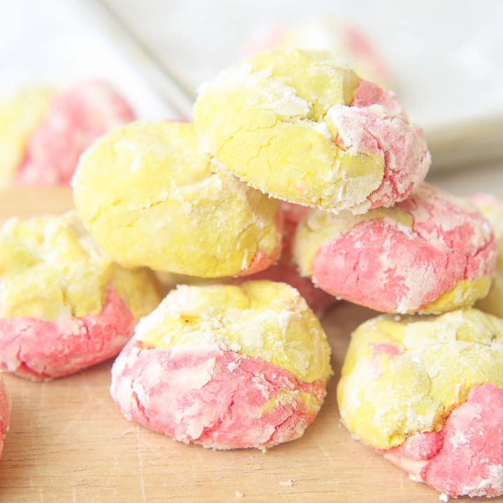 This strawberry lemonade crinkle cookies recipe combines zesty lemon flavors with sweet strawberry hints in a soft and fluffy crinkle cookie! These moist gluten free cookies are a great little snack or dessert all summer long! image 4