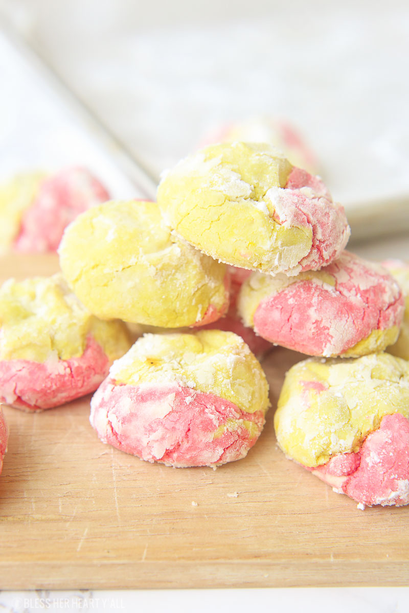This strawberry lemonade cookie recipe combines zesty lemon flavors with sweet strawberry hints in a soft and fluffy crinkle cookie! These moist gluten free cookies are a great little snack or dessert all summer long! image 4
