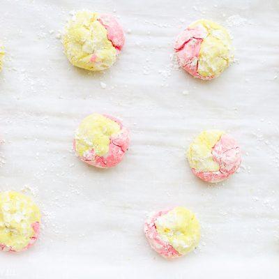 Strawberry Lemonade Crinkle Cookies {Gluten Free}