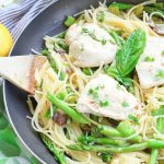 This chicken pasta in garlic basil butter sauce recipe makes for an easy gluten free dinner for busy weeknights. Pasta and chicken is tossed with the vegetables you already have in your kitchen and drizzled in a sizzling light and creamy garlic butter sauce with extra hints of basil and lemon! image 6