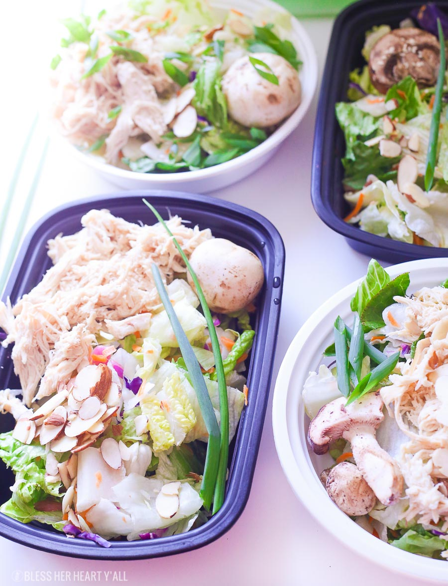 Sesame Ginger Chicken Chopped Salad is a healthy and easy meal prep recipe that the whole family will love. Sesame ginger marinated chicken breast is mixed with fresh chopped vegetables all topped with sesame seeds and homemade sesame ginger dressing. image 3