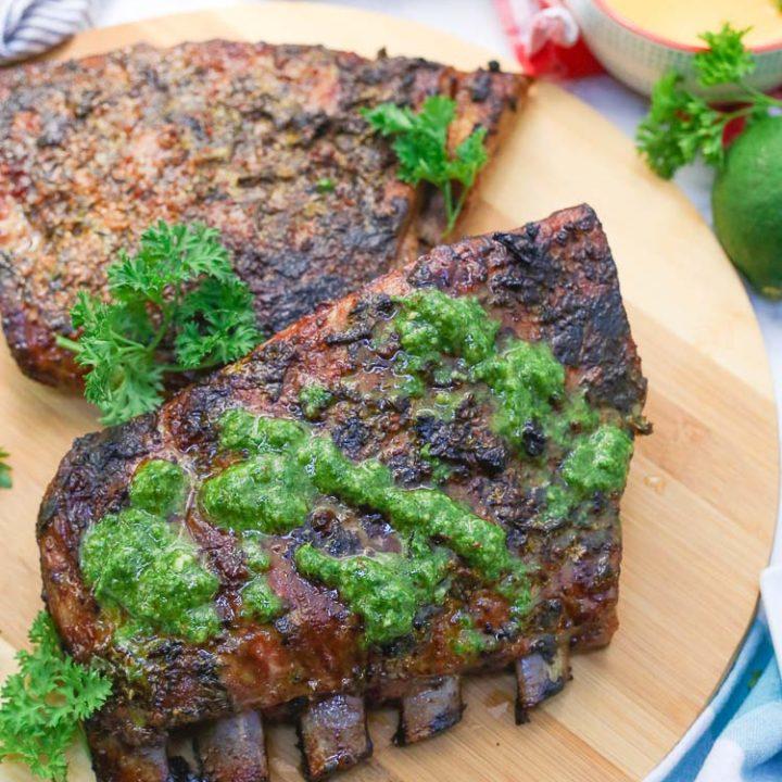 Cuban Mojo Marinated Pork Ribs + Chimichurri