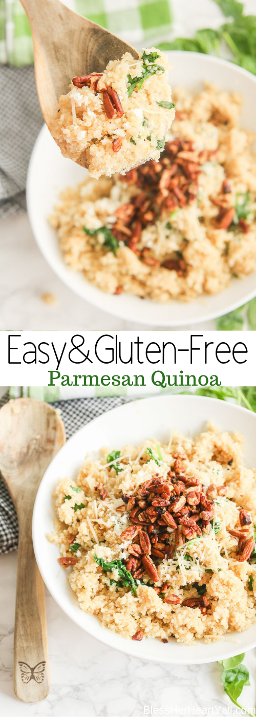 Parmesan Quinoa combines warm fluffy quinoa with warm creamy goat and parmesan cheeses, sauteed spinach, and buttery toasted pecans.  This light and fluffy recipe will definitely become one of your family's favorite side dishes!