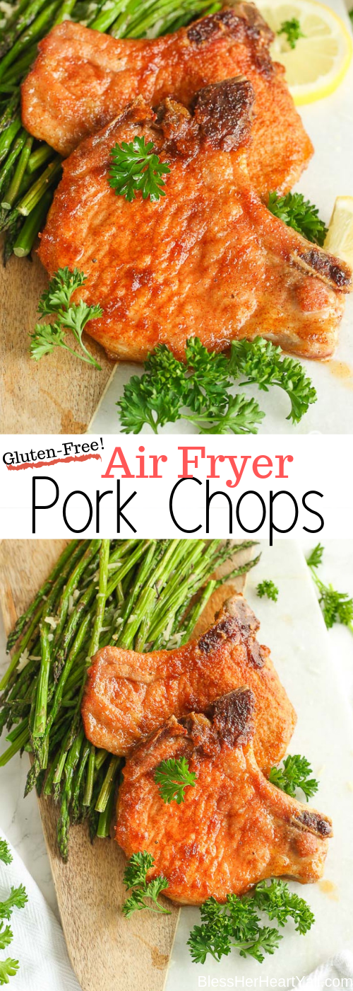 Air Fryer Pork Chops are an amazing recipe that you simply MUST try! These juicy pork chops are quickly seasoned with spices already in your pantry and then cooked in the air fryer, from start to finish is just 12 or 13 minutes! Add your family's favorite vegetables for a great one-pot weeknight meal!