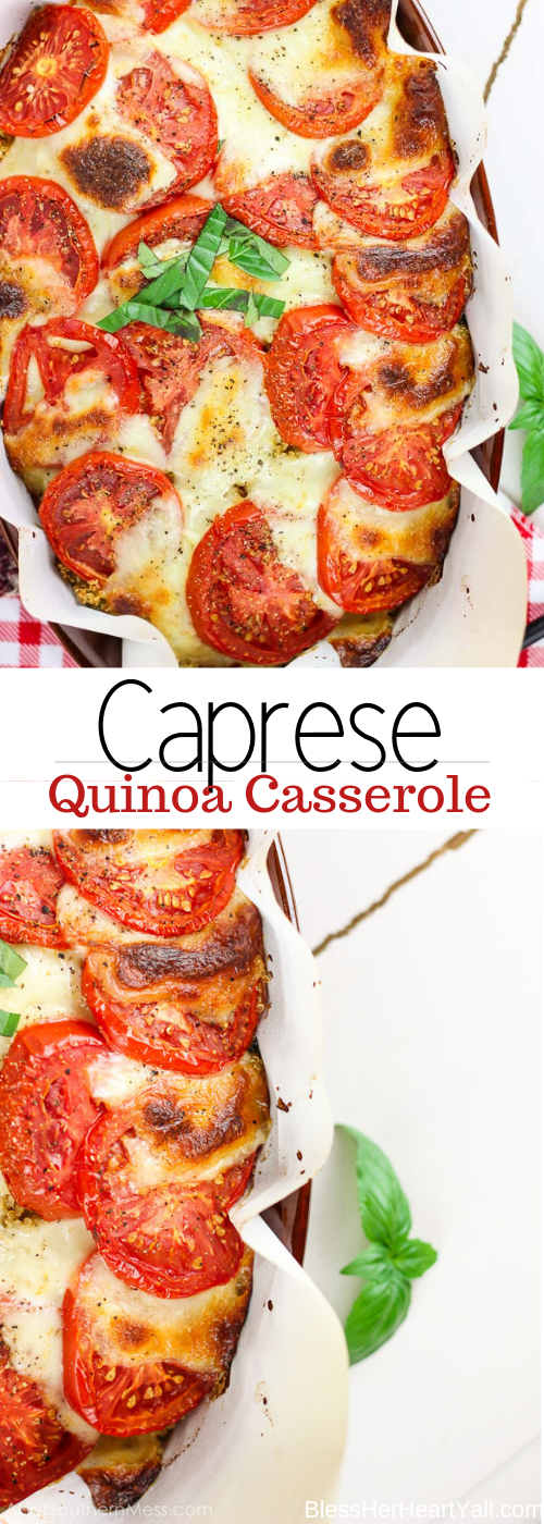 An easy cheesy quinoa casserole with fresh juicy tomatoes, soft melted mozzarella cheese, fluffy protein-packed quinoa, and delicious basil pieces.  Thrown in the oven to melt the flavors together and then drizzled with a simple balsamic reduction to make a caprese casserole masterpiece that anyone can make for an easy gluten-free weeknight meal.