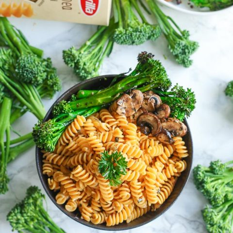 Noodle Bowl Gluten-Free with parmesan and broccolini