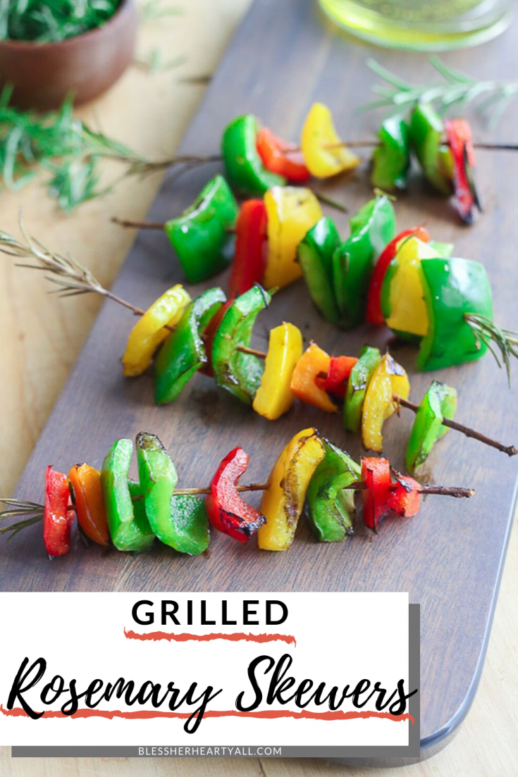 Rosemary Skewers are the best idea that has ever hit your grill! Fresh rosemary sprigs are used as skewers for your favorite grilled vegetables.  Add a little olive oil onto each skewer and then let the grill do that rest of the work! Perfect for neighborhood grill outs all the way to fancy dinner parties!