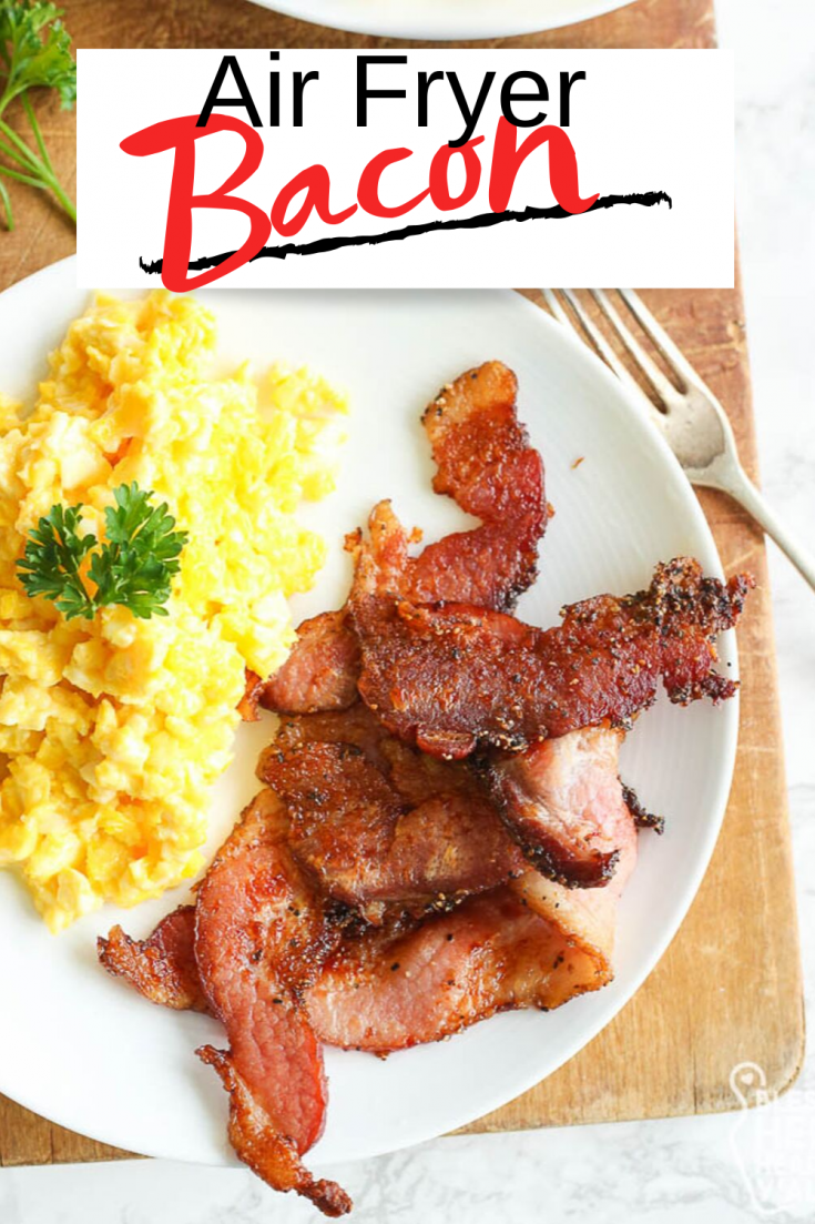Air Fryer Bacon is a very quick recipe that produces nice crisp bacon in under 10 minutes, even with thick cut bacon! There's no greasy mess all over the stove or oven, just simply wipe out your air fryer and you're done!  This bacon recipe is gluten-free, low carb, paleo, and keto friendly.