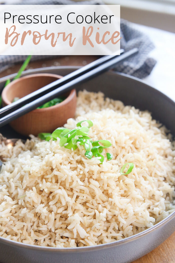 Pressure Cooker Brown Rice is an easy and quick way to serve up tender and delicious foolproof brown rice in minutes!  It's hard to tell the difference between brown rice and white rice when you cook brown rice this way!  A total game-changer!