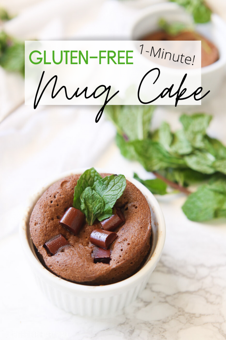 This one-minute mint chocolate gluten free mug cake is soft, fluffy, decadent, and most importantly packed full of gooey mint chocolate flavor all in one simple and quick gluten free serving!