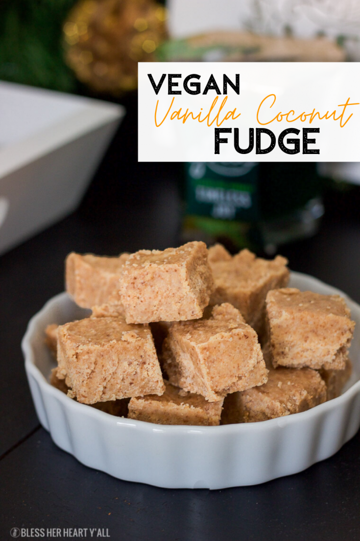 "This vegan fudge takes only 5 minutes worth of prep time and 5 simple ingredients to make.  It tastes just like traditional fudge and it's also paleo, dairy free, and gluten free!  Put this sweet fudge as well as some other ""simple ingredients"" on your front entryway table to welcome guests in during the holiday season!"