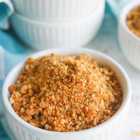 the best gluten free breadcrumb recipe finished and ready to serve in a small bowl