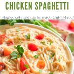 instant pot chicken spaghetti in white bowl