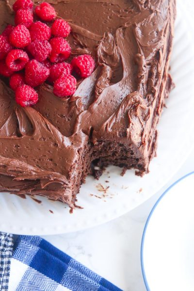 gluten-free chocolate cake with piece cut out of corner